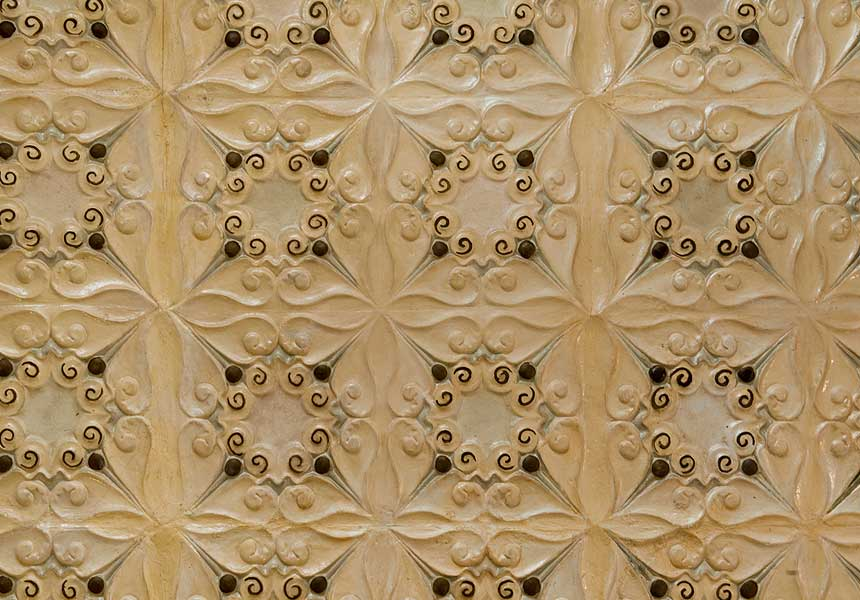 Close-up of one of the ceilings on the first floor